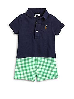 bce4b24000608 Ralph Lauren - Infant s Two-Piece Polo Shirt   Gingham Shorts Set ...