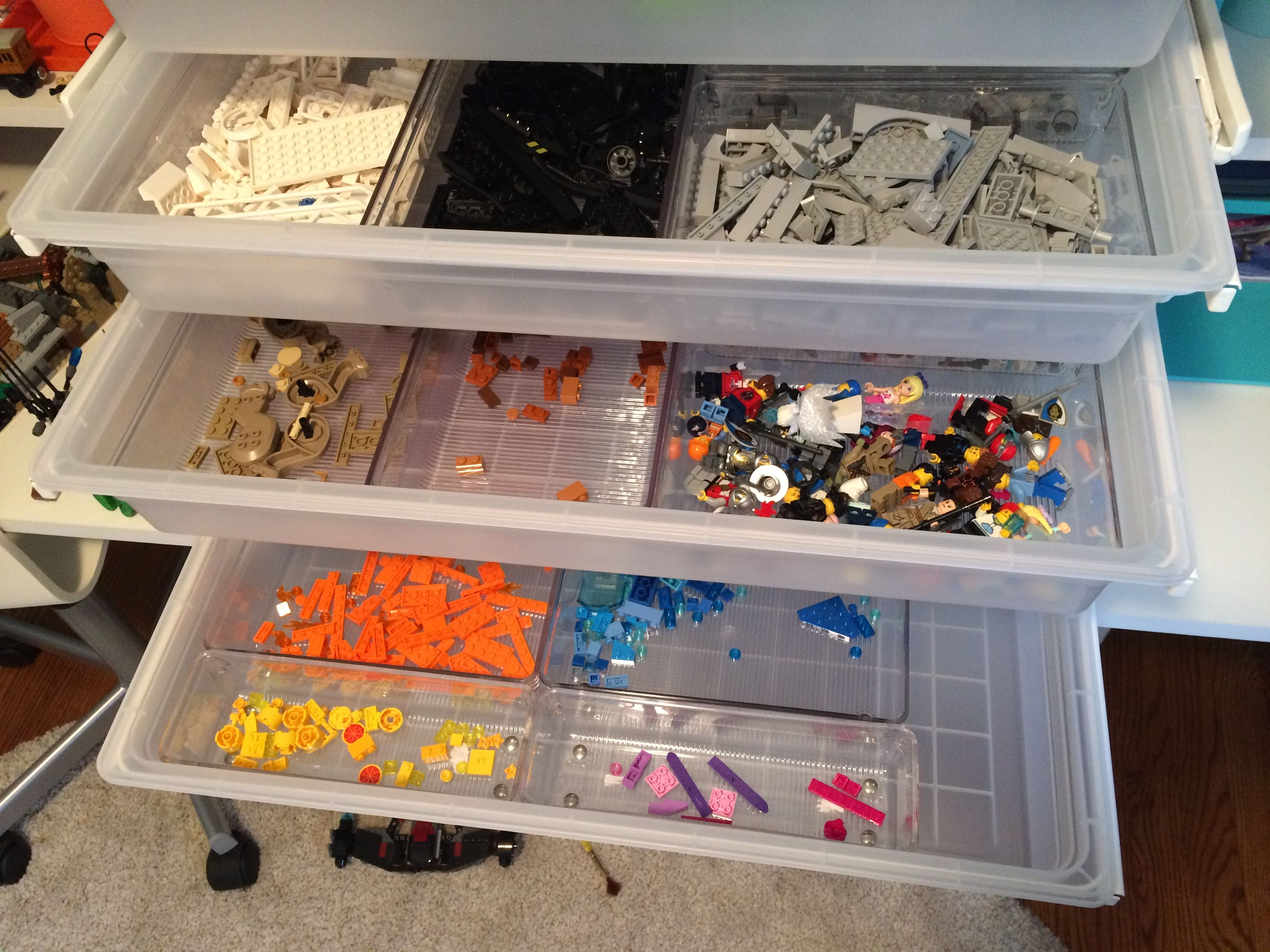 Container store Elfa drawers plus Linus shallow drawer organizers for Lego  storage