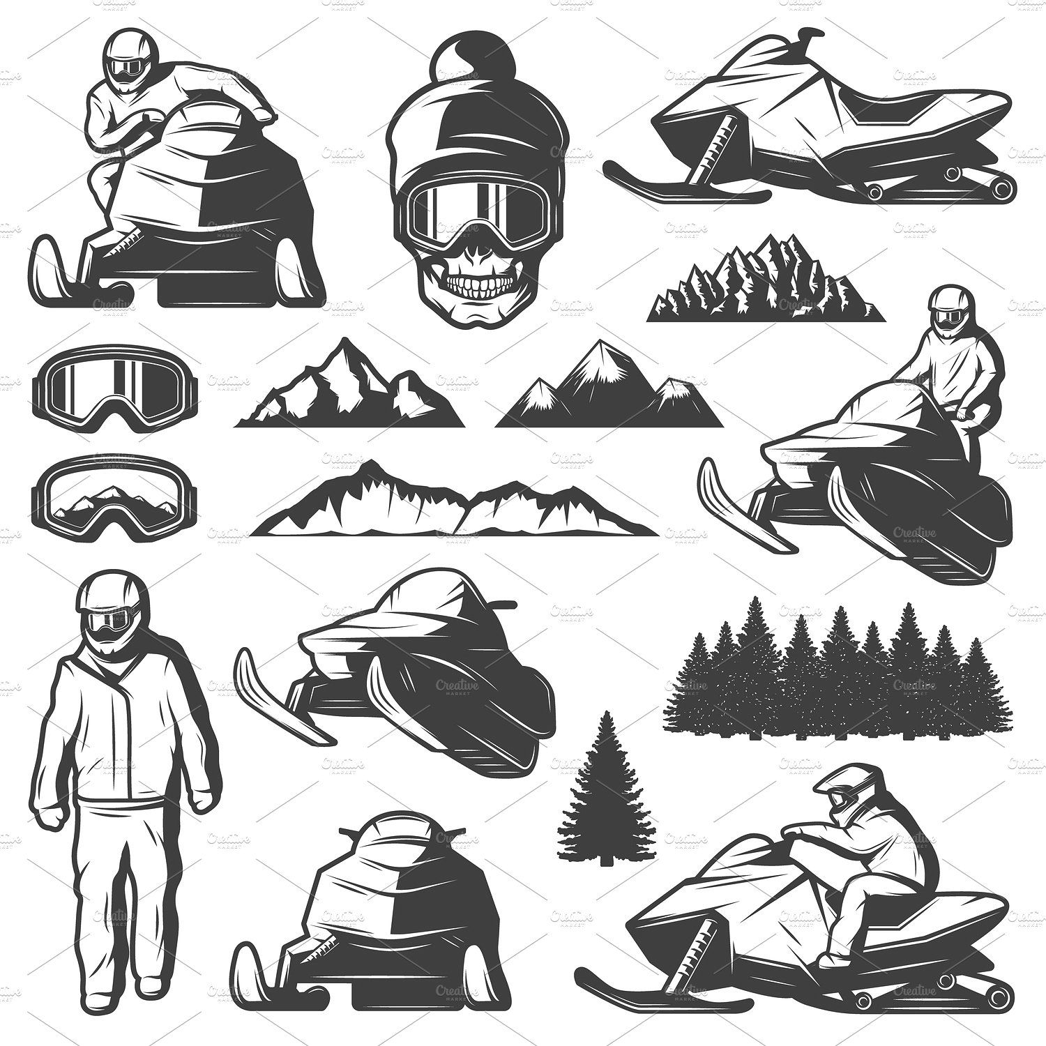 Vintage Winter Sport Elements Set Retro Graphic Design Vintage