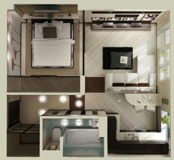 Planos de apartamentos peque os en 3d habitaciones for Diseno de apartamento de una habitacion