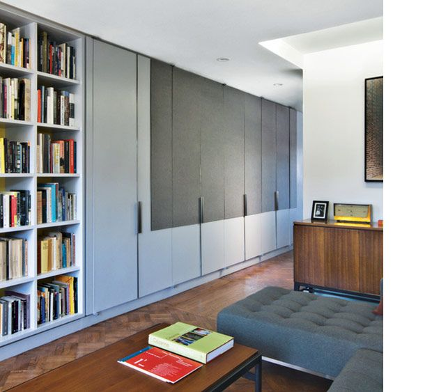 apartment in brooklyn. uses a series of ikea's pax wardrobes to