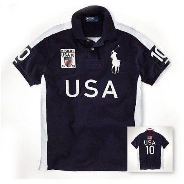 Ralph Lauren Men CHICAGO Black White Big Pony Polo