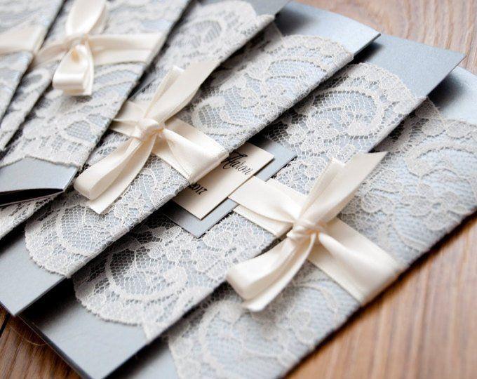 Faire-part de mariage vieux rose dentelle crème