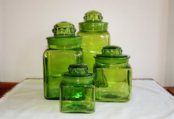 4 Square Green Glass Canisters By LE Smith   SOLD! :)