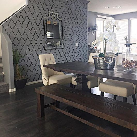 A DIY Stenciled Dining Room Accent Wall In Gray And Black Using The  Marrakech Trellis Allover Stencil From Cutting Edge Stencils. ...