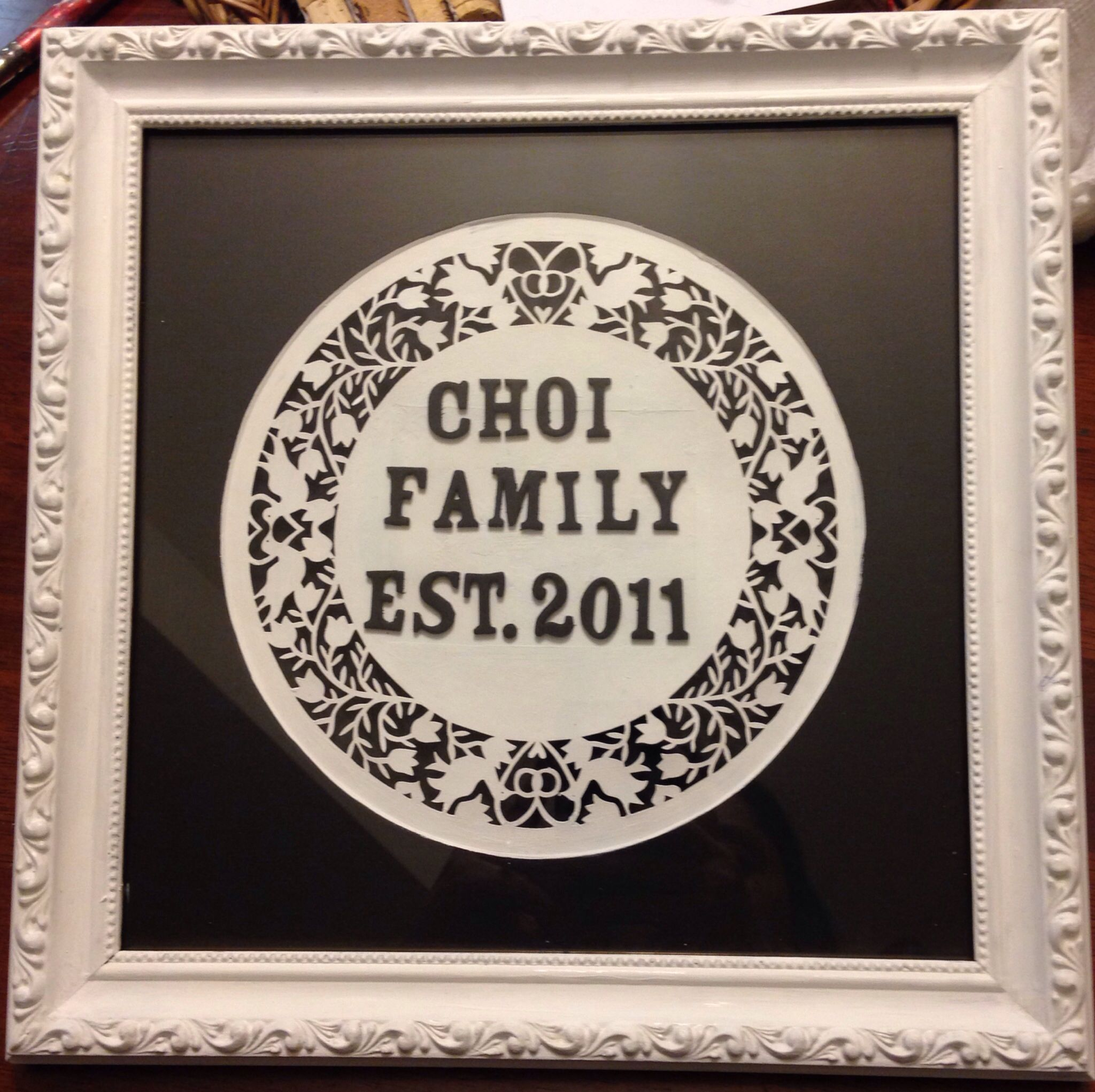 Family Name Art Made From Old Frame Foam Letter And