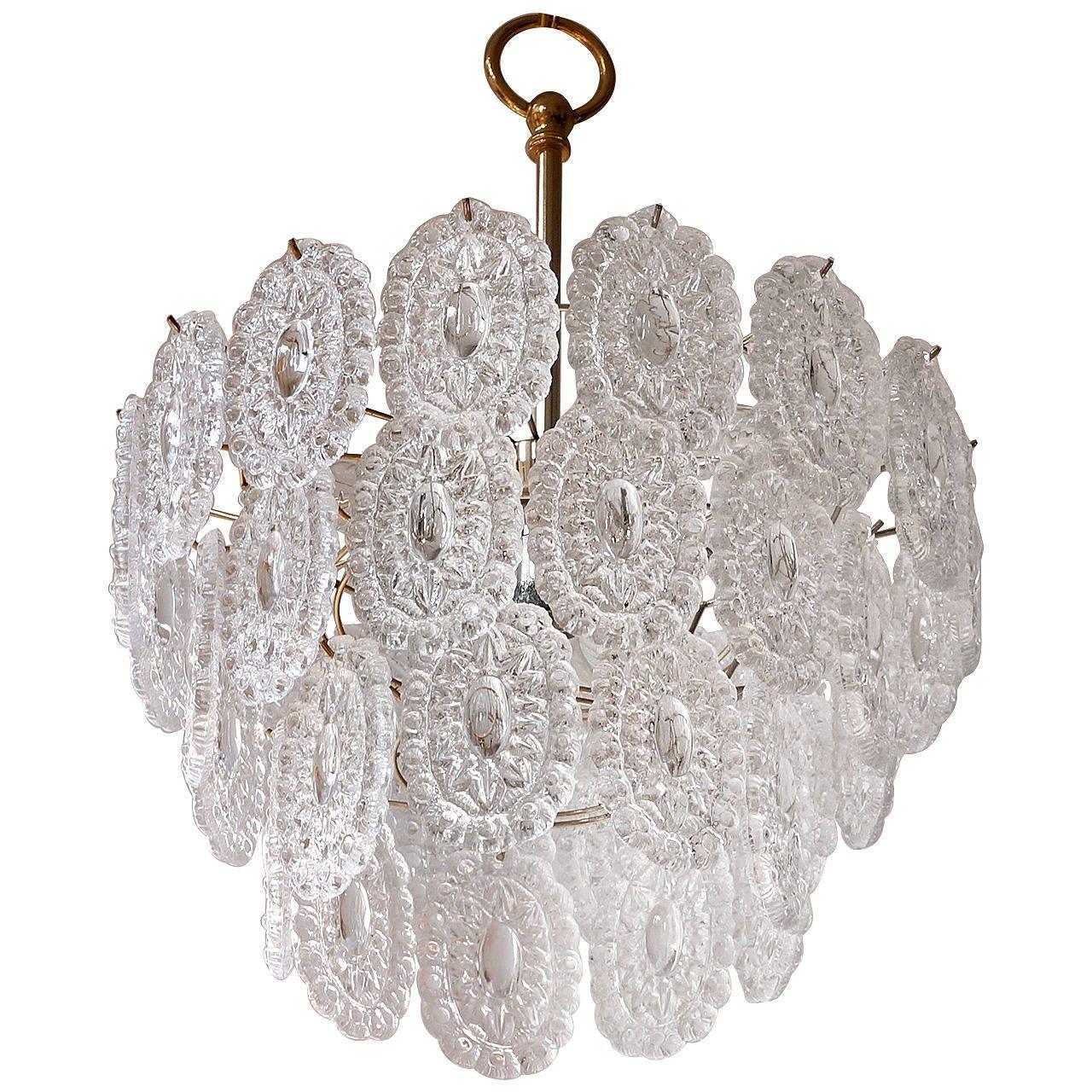Three doria crystal glass flush mount light chandeliers flush