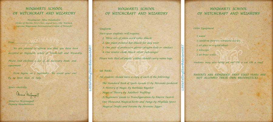 how to make a hogwarts acceptance letter online