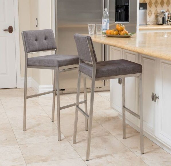 Modern Square Gray Fabric Seat Bar Stool High Counter Chair Kitchen Metal Rustic Kitchen Chairs Modern Bar Stools Kitchen Counter Chairs