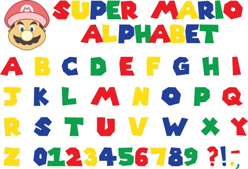 Super Mario Alphabet Super Mario Font Mario Fon Vector Etsy In 2020 Super Mario Handmade Crafts Space Artwork
