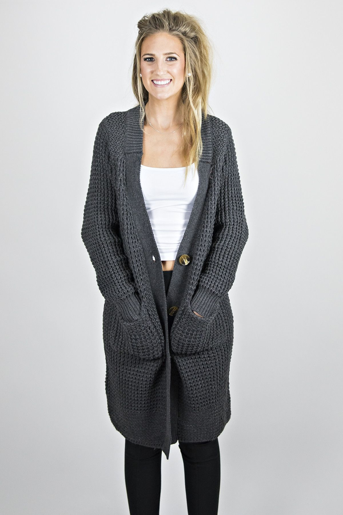 Wobbly Cardigan from Eccentrics Boutique This dark grey cardigan ...