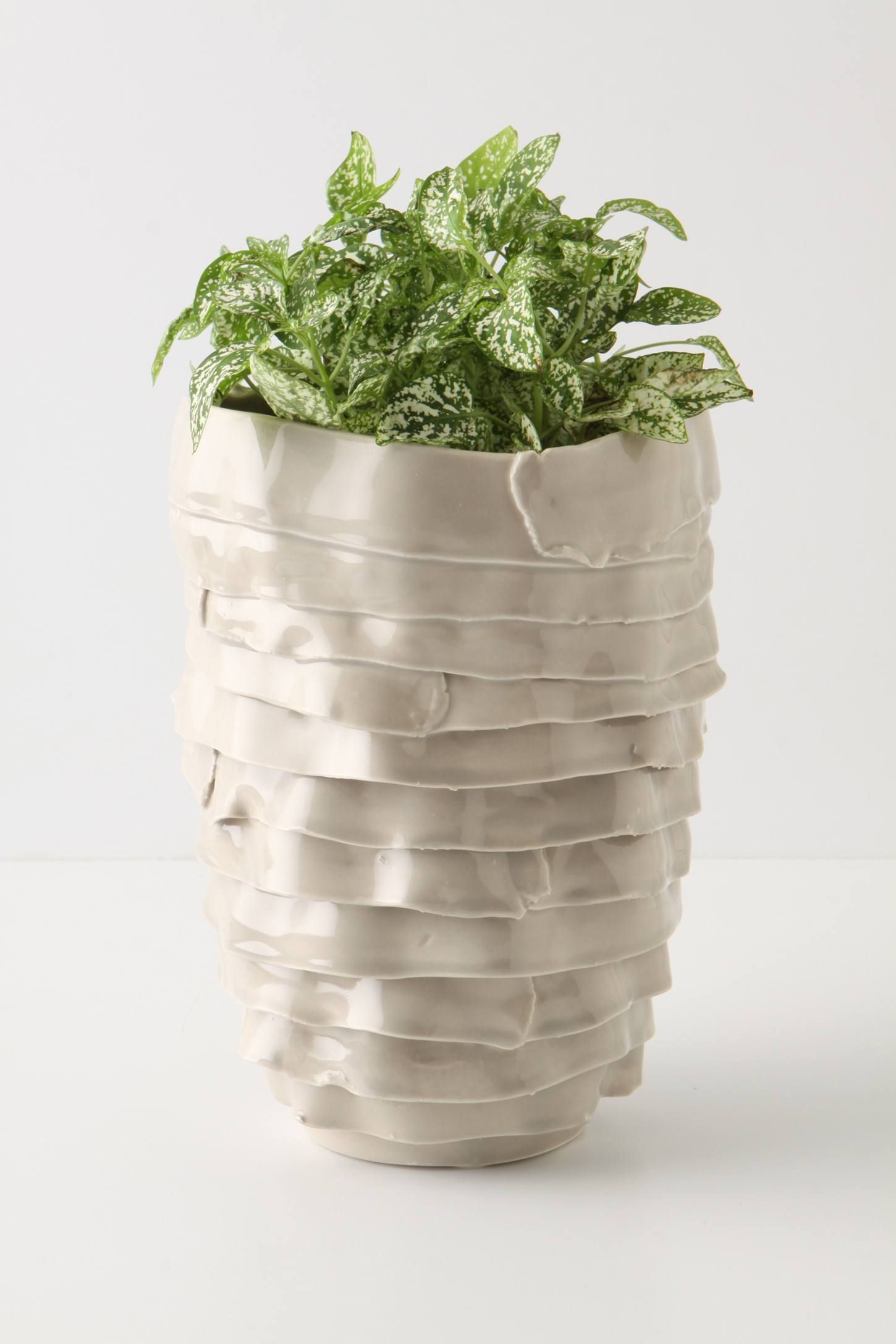 Trussed Pot, Tall Pottery sculpture, Ceramics, Air dry clay