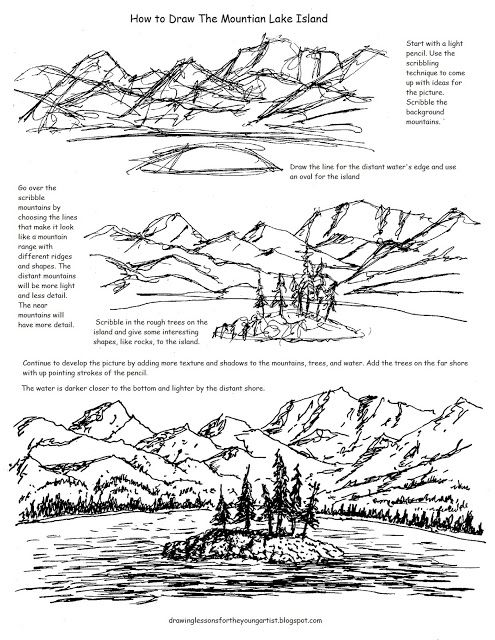 Printable How To Draw Worksheet, Mountain Lake With An
