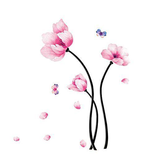 sticker mural motif saisons rose fleur de papillon autocollant