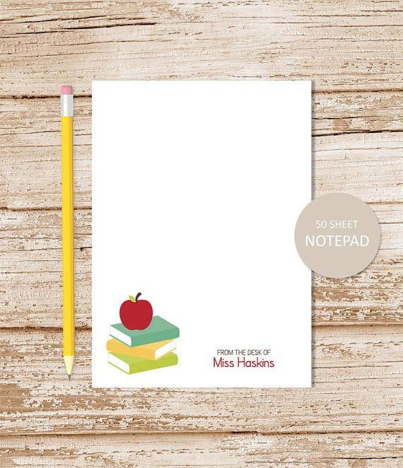 personalized TEACHER notepad . apple note pad . school
