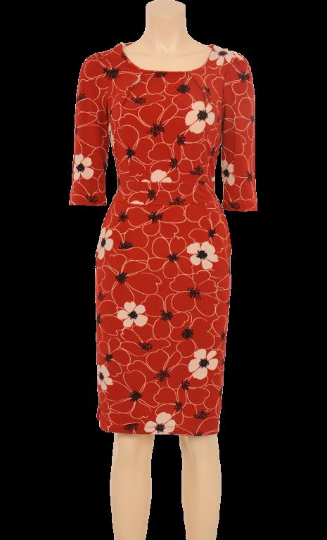 ebb44fe84f40 KING LOUIE - Mønstret kjole i 90% polyester og 10% spandex. Rød bundfarve  med sort og hvidt blomsterprint. 3 4-lange ærmer. Rund halsudskæring.