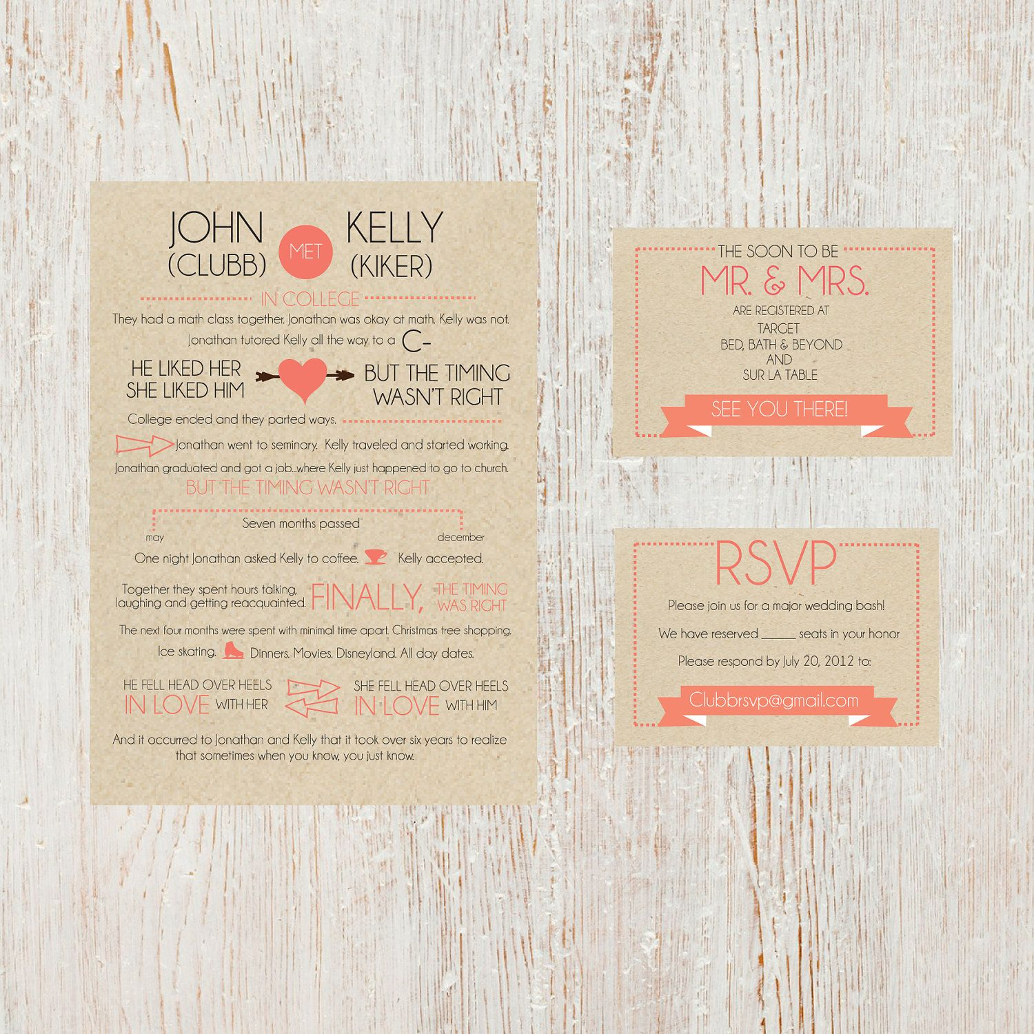 Couples Love Story Wedding Invite Suite by SimpleSimonDesign ...