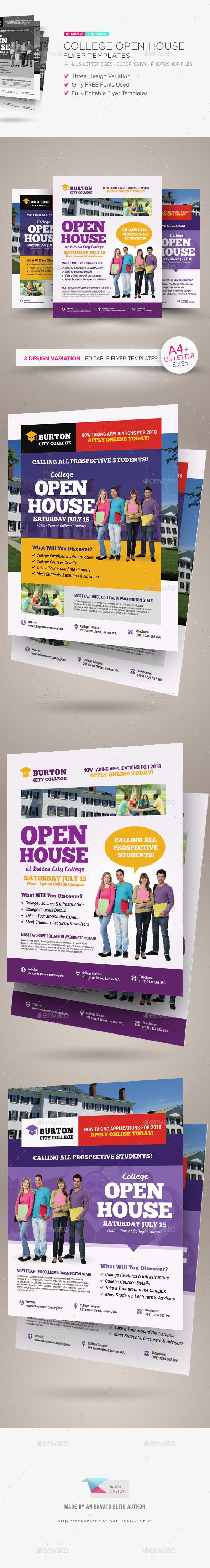 College Open House Flyer Templates  Flyer Template Template And