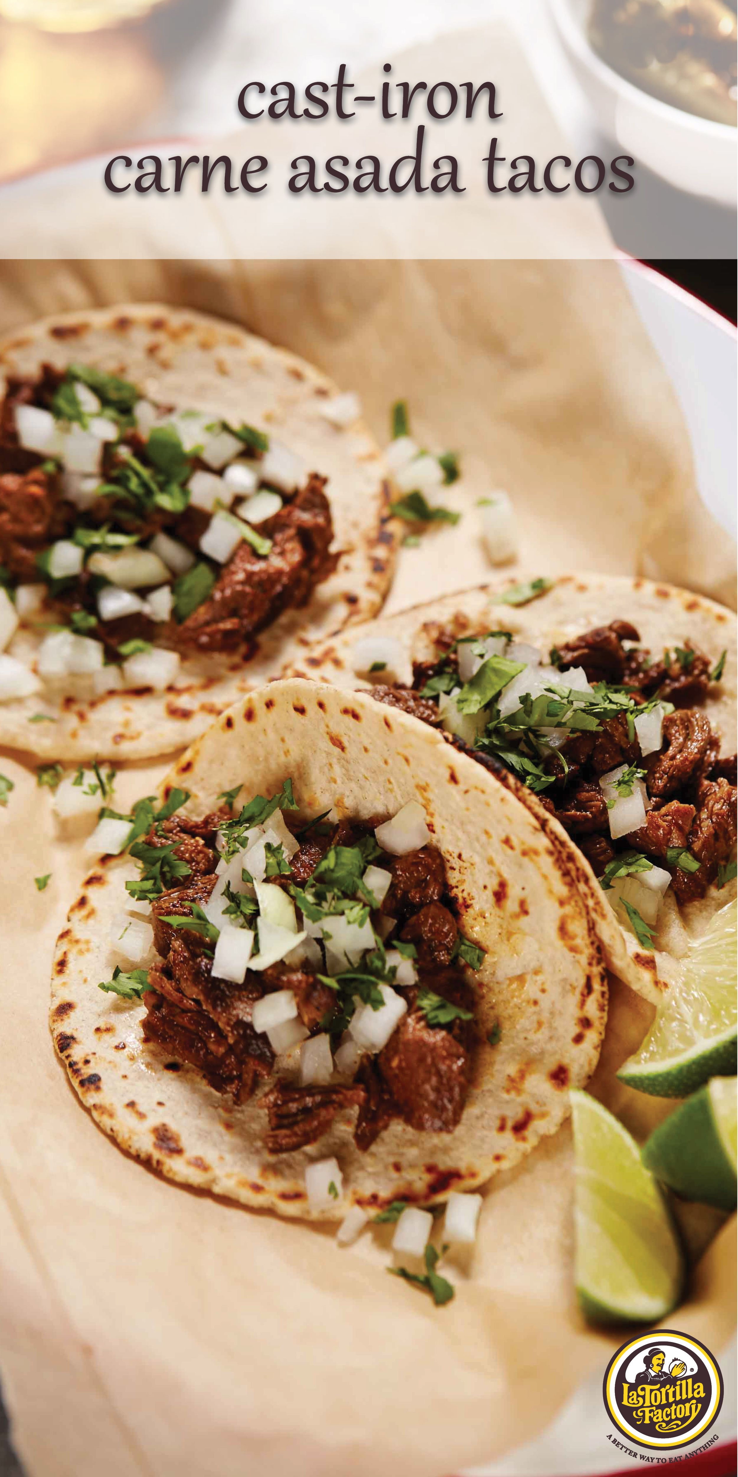 Recreate street tacos right at home with our Hand Made Style Street Taco Size tortillas. This recipe uses a simple, spicy rub instead of a more traditional (and labor-intensive) marinade. The salt and brown sugar help tenderize the skirt steak, which is a tasty, fast-cooking cut. You can substitute flank steak. Mexican markets also often sell marinated carne asada, which you can use here and skip the dry rub. #asadatacos