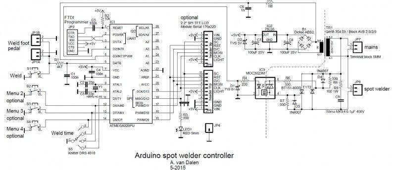 arduino spot welder controller circuit