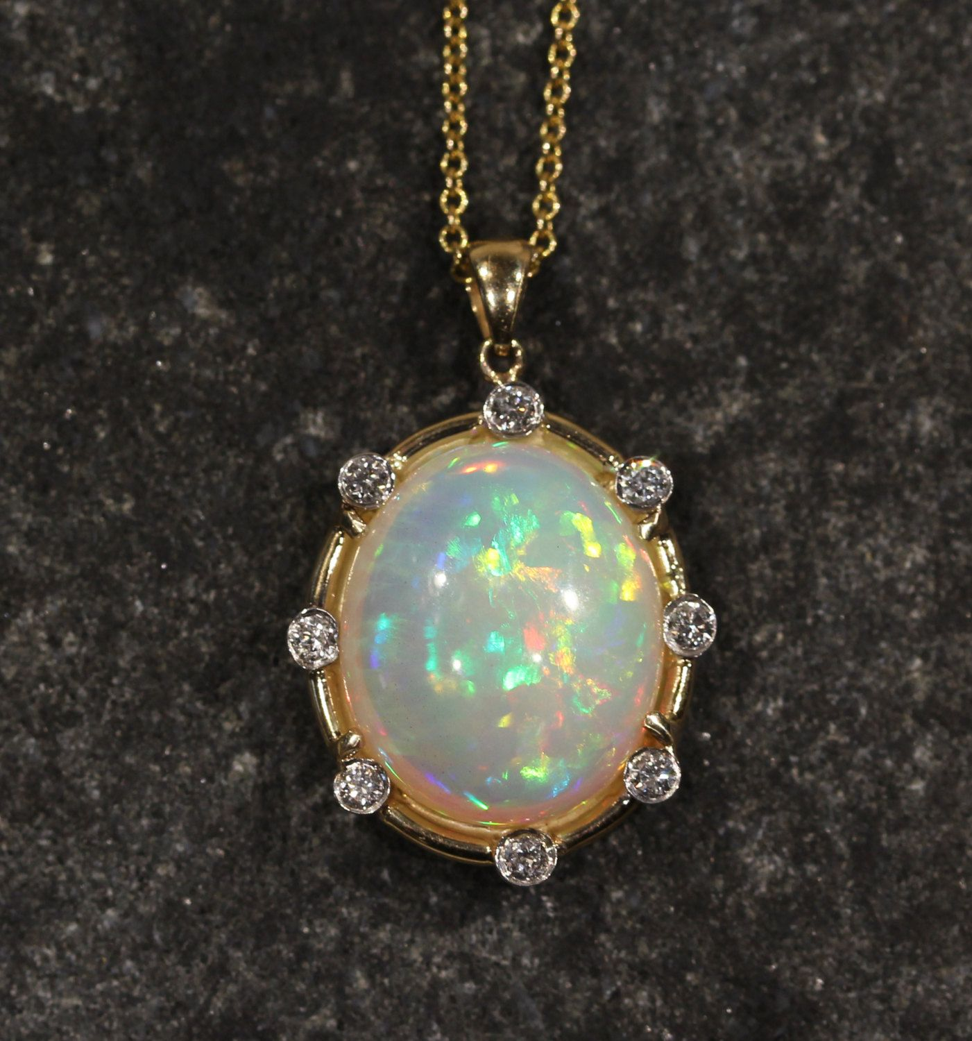 Natural opal pendant 14k yellow gold w diamonds custom necklace natural opal pendant 14k yellow gold w diamonds custom necklace gemstone jewelry 1293 aloadofball Image collections