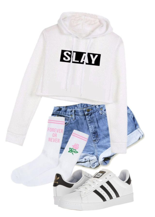 """Slay all day"" by pyatt184 ❤ liked on Polyvore featuring adidas"