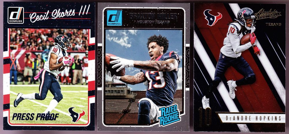 LOT OF 3 2016 HOUSTON TEXANS BRAXTON MILLER RATED ROOKIE SHORTS PRESS PROOF RC  #HoustonTexans