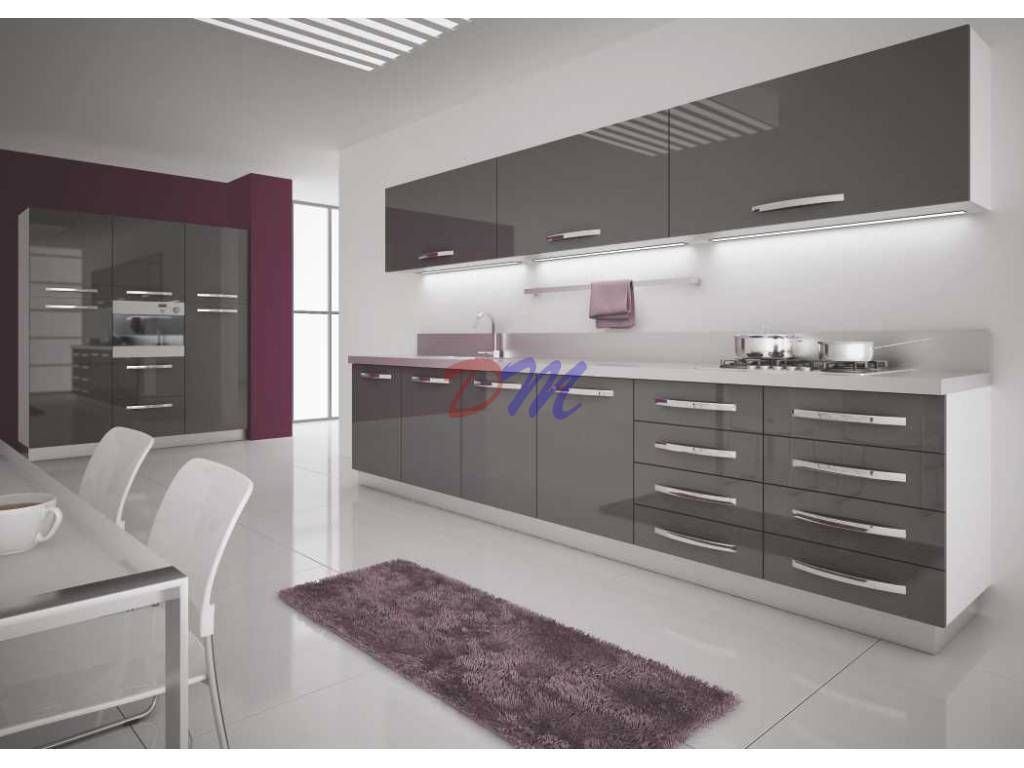 Antrasit Akrilik Kapak Mutfak Dolabi Modern Mutfaklar Mutfak