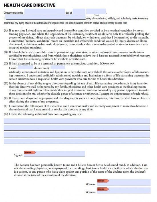 Health Care Directive Washington State