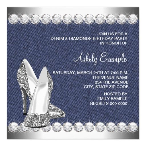 Denim and Diamonds Birthday Party Invitations High Heel Shoe Party - invitation letter for home party