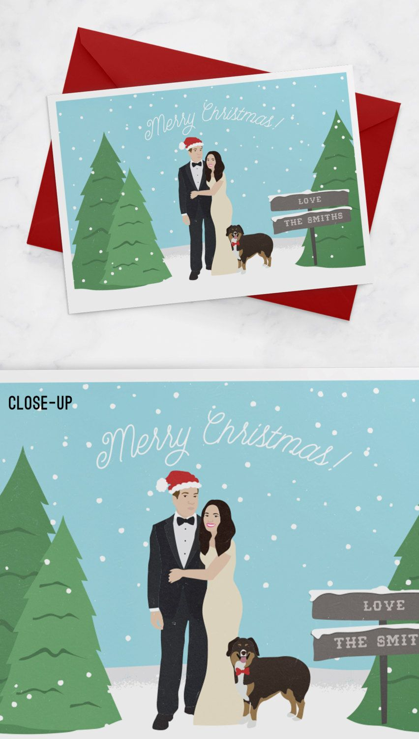 First Married Christmas Cards with Wedding Portrait - Just Married ...