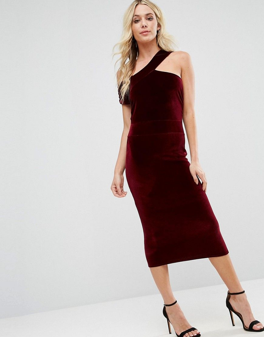 Boohoo velvet cut out detail pencil dress red products