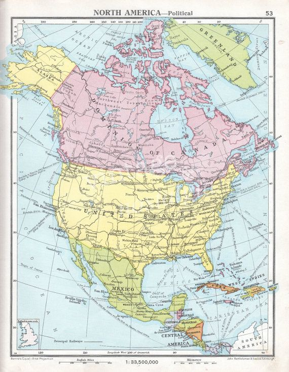 North America Vintage Map Pastel Colors US Canada Alaska - Us and canada political map