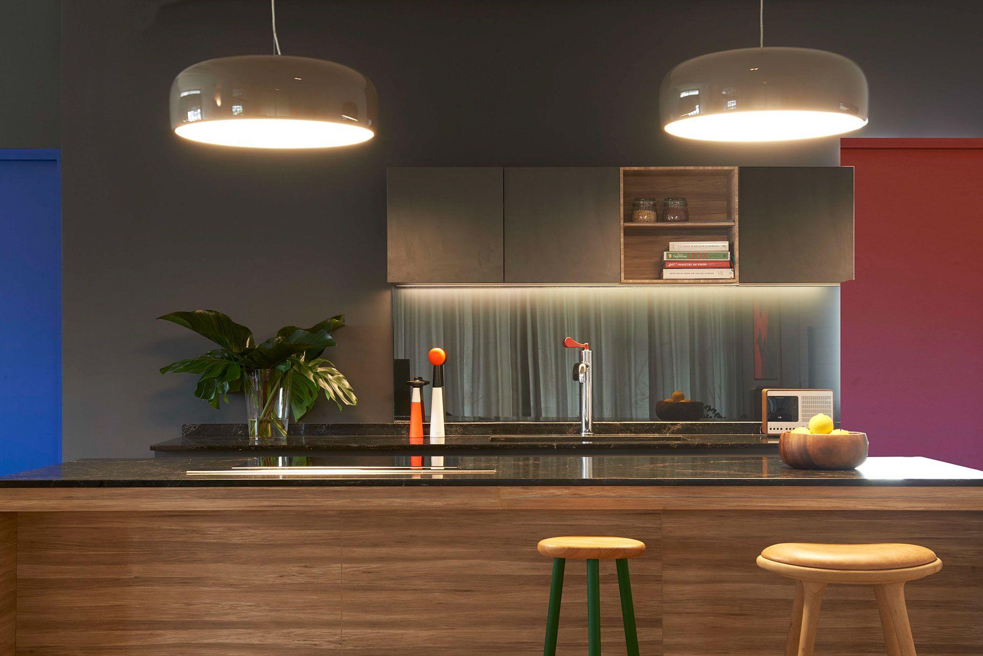 Grey Kitchen With Glass Backsplash A Bachelor Pad S Parisian