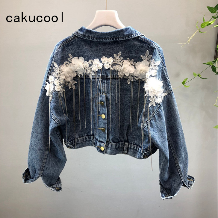 CUSTOM Embroidered Pearl Sleeve Women/'s Relaxed Fit Boyfriend Style High Quality Denim Jacket