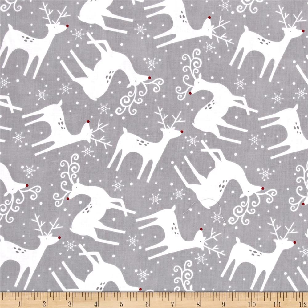 Alpine Reindeer Toss Gray from @fabricdotcom  Designed by Pink Chandelier and licensed to Wilmington prints, this cotton print is perfect for apparel, quilting and home decor accents. Colors include grey, white and red.