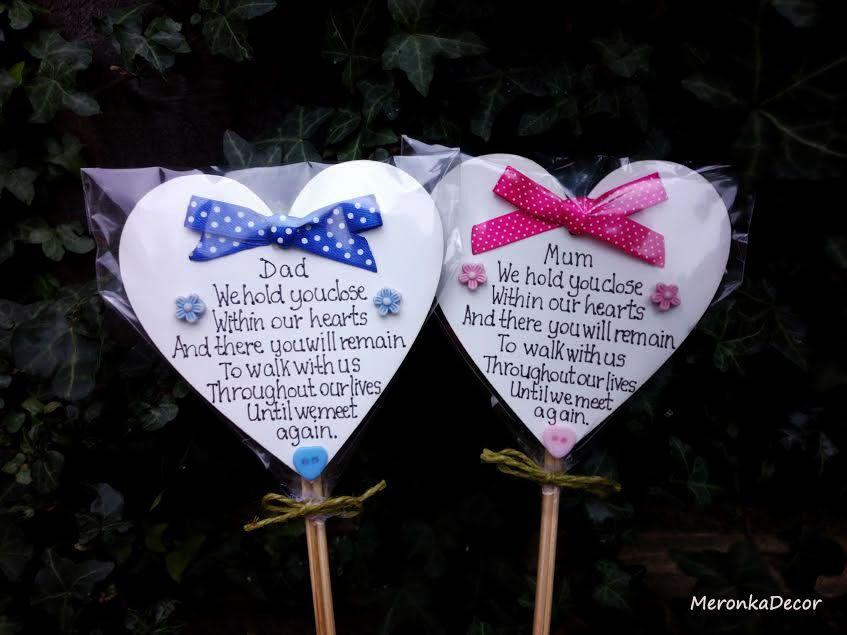 Memorial Heart Mum Grave Ornament Personalised Plaque Pink