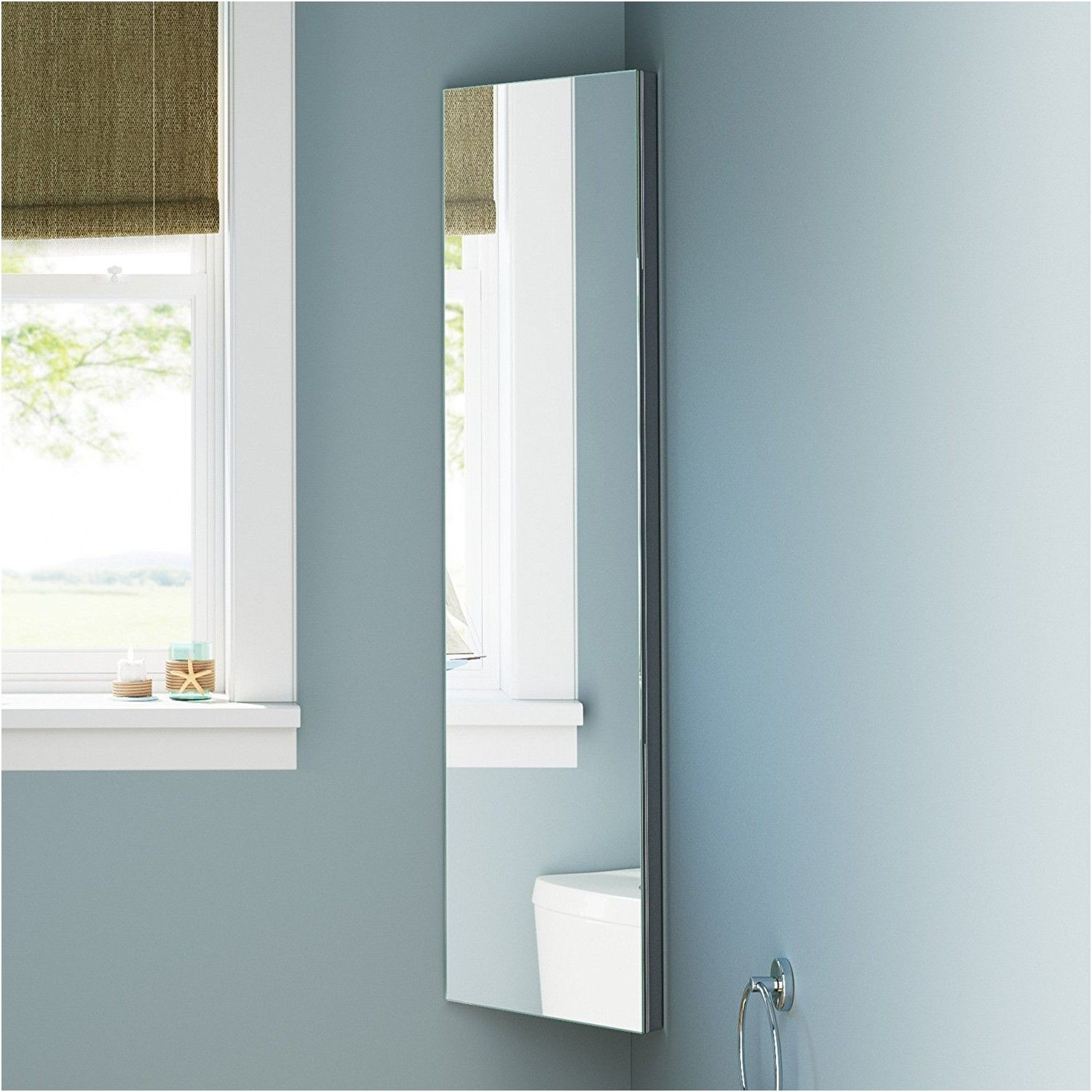 zanex bevelled edge 1200mm stainless steel mirror bathroom corner ...