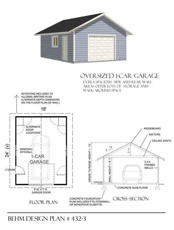 Oversized 1 Car Garage Plan No. 432-3 by Behm Design 18' x 24'
