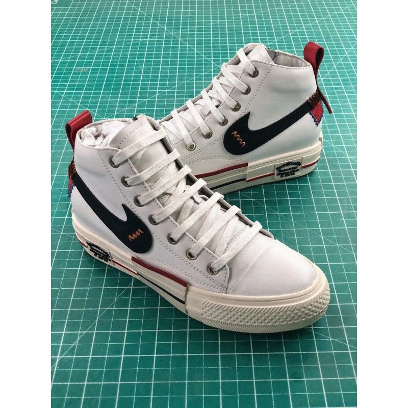 b1f680ee2fe2eb Vintage 1980 s Nike Swoosh 820103 White Canvas   Blue Leather Swoosh Men s  Trainers Sneakers