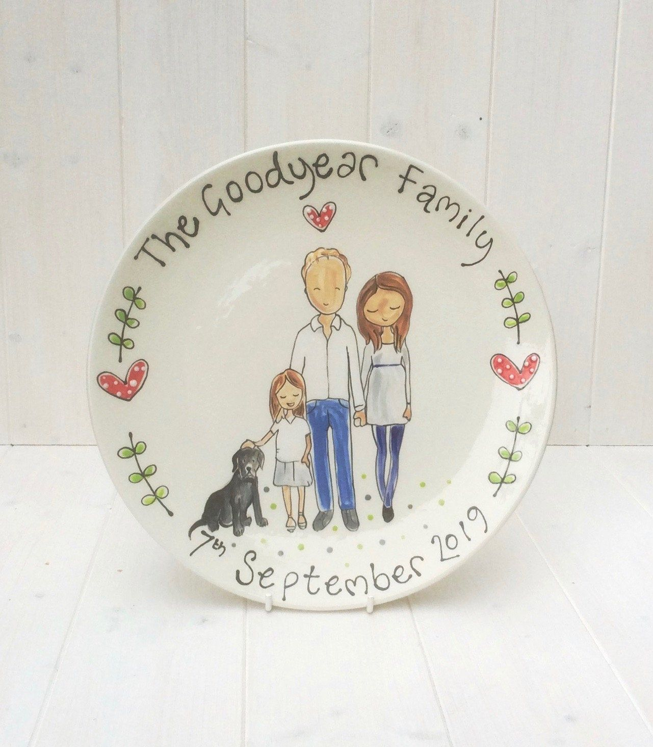 Personalised Wedding/Anniversary Plate , Bespoke Wedding Gift, Personalised Pottery Gift for 8th and 9th Wedding Aniversary
