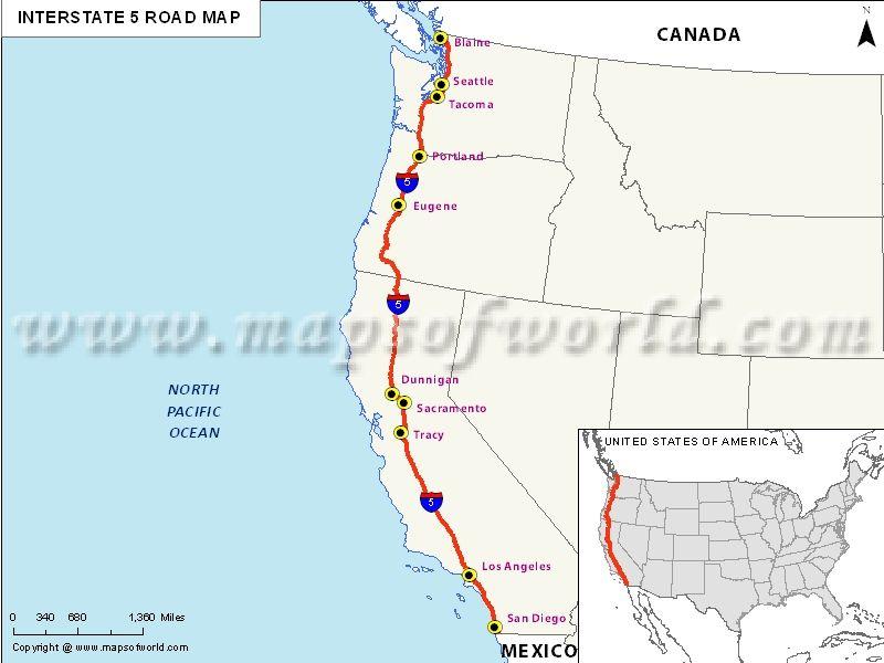 San Isidro California Map.Us Interstate 5 Map Map Pinterest Map Interstate 5 And Washington