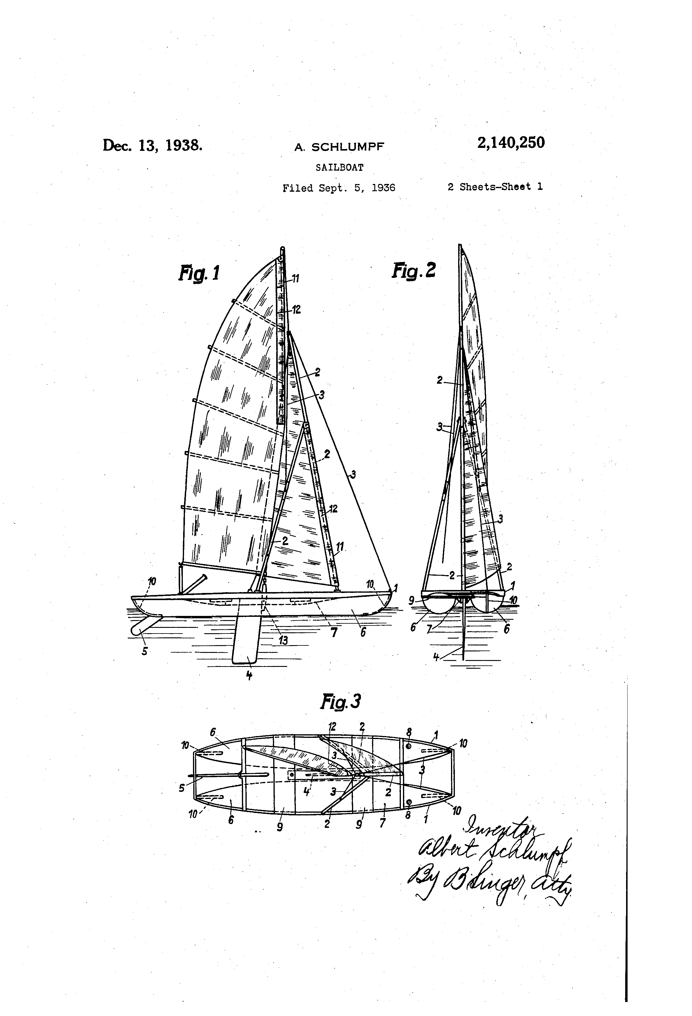 Gifts For Boaters Sailors Sailing Gift Ideas 1936 Schlumpf Patent Art Print