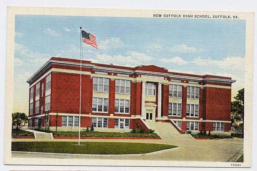 1951 suffolk va early new suffolk high school c postcard
