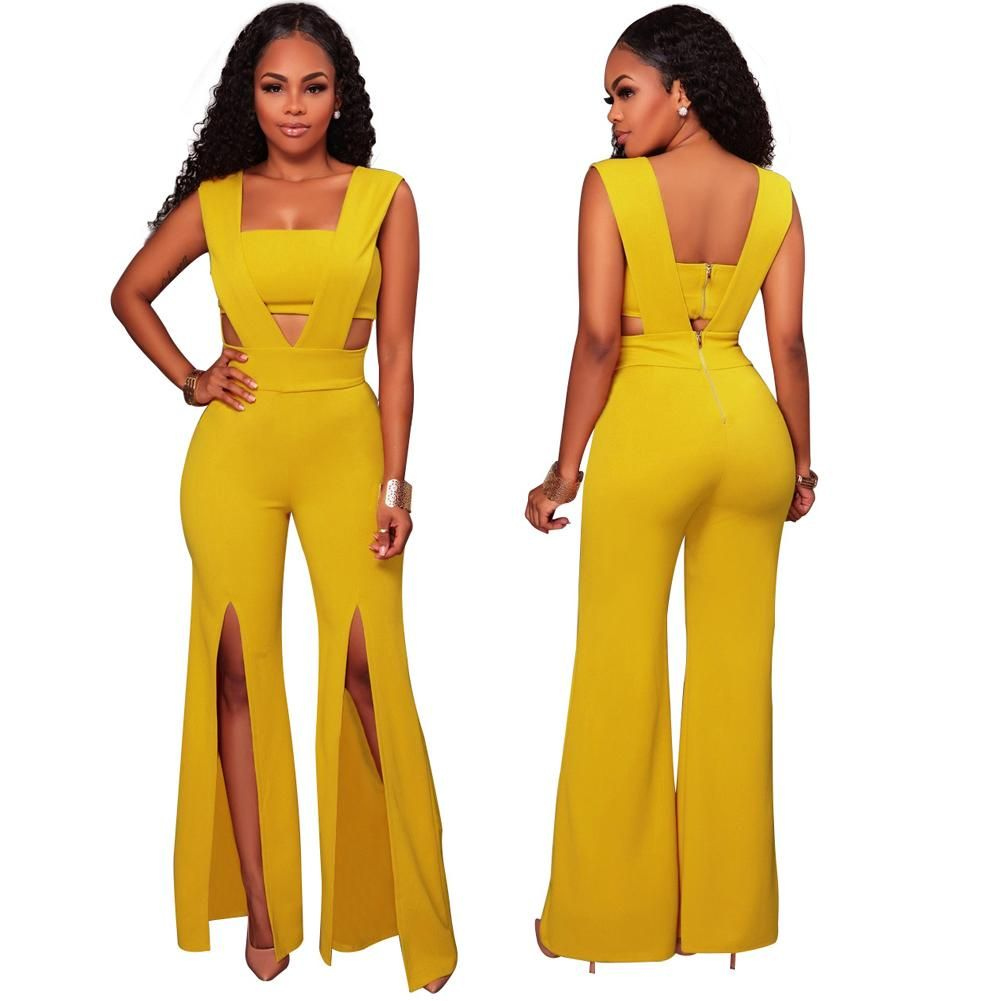 11e558118fb3 Petalsfashionz.com Quick shipping low prices women s rompers   jumpsuits  Sexy Jumpsuit Women Sleeveless Deep V Long Jumpsuit Tube Top Cutout Split  Wide Legs ...