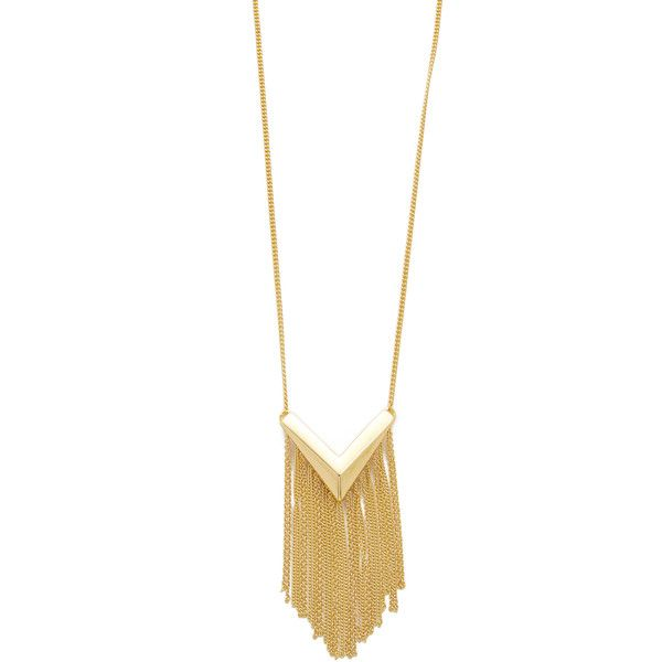 Sam Edelman Long V Fringe Pendant Necklace (225 BRL) ❤ liked on Polyvore featuring jewelry, necklaces, gold, gold chain necklace, gold chain pendant, fringe necklace, gold chevron necklace and chevron necklace