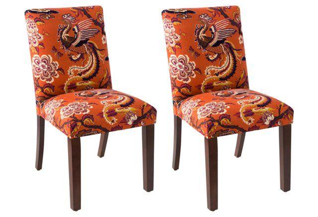Shannon Burnt Orange Dining Chairs Pair