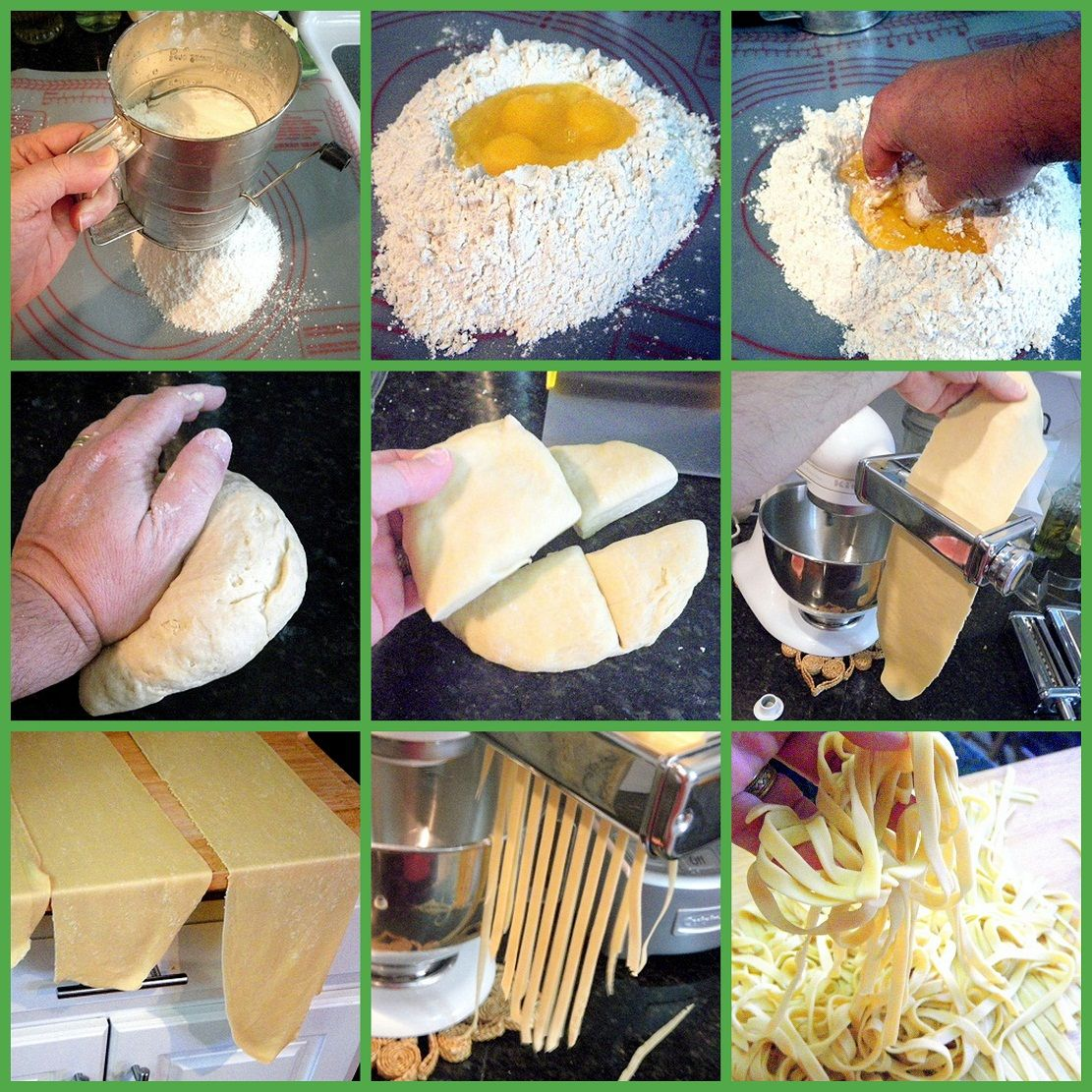 Original Pin: Fresh Made Pasta - The Basics... MAN UP, you can do this and it is sooooo much different from dry pasta.  Easy with a machine, but you can also just roll out thin thin and thinner until you cut with a pizza cutter.  But this works... recipe for dough and LOTS and LOTS of photos.  YOU CAN DO THIS... It's winter, make it a DIY project