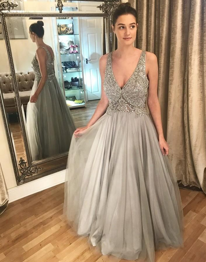 8034821550c V-neck Sexy Long Prom Dress With Beaded Top Wedding Party Dress Formal Dress  PDS0596