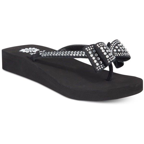 1007f09b47af Yellow Box Zaire Bow Flip-Flops ( 19) ❤ liked on Polyvore featuring shoes
